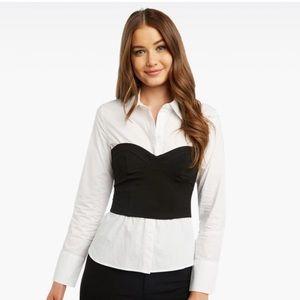 BARDOT Black White Bustier Layered Button Up